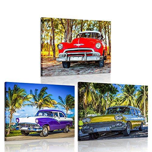 iK Canvs - 3 Piece Wall Art American Classic Car on The Beach Cayo Jutias Canvas Prints Picture Decor Vintage Car Poster Print Stretched and Framed Ready to Hang for Boys Room 12x16inchx3pcs