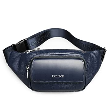 d895b321dc07d0 Padieoe Leder Handtasche Klein Sporttasche Sling Brusttasche Bauchtasche  Herren Fanny Packs Messenger Bag (blau)