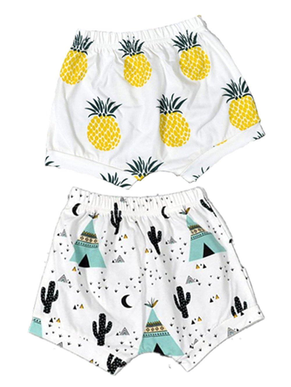 BIGBUY 2pcs Summer Baby Fruit Printed Cotton Shorts Harem Pants Bloomers for 0-4 Years Old AYIYO