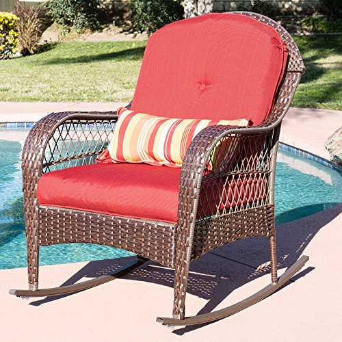 Wicker Rocking Chair, Patio, Porch, Deck Furniture, All Weather Proof W/ Cushions + Expert Guide by JaxTerrific