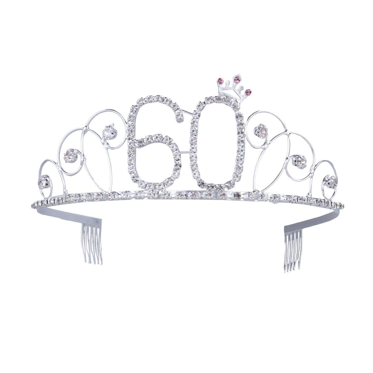 Frcolor Krone Geburtstag 60 Diadem Tiara mit Haarkamm Kristall Strass Silber Geburtstagsgeschenk 60 Jahre für Frauen