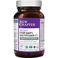 New Chapter Men's Multivitamin + Immune Support - Every Man's One Daily 40+, Fermented with Probiotics + Saw Palmetto…