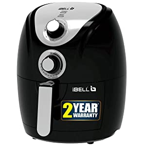 iBELL AF23B 2.3 Litre 1200W Crispy Air Fryer with Smart Rapid Air Technology,Timer Function & Fully Adjustable Teperature Control(Black)