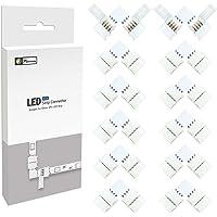 LED hoekverbinding, LED strip connector, (12 stuks) 4 polig 10 mm RGB 5050 LED strip connector, LED strip hoek connector…