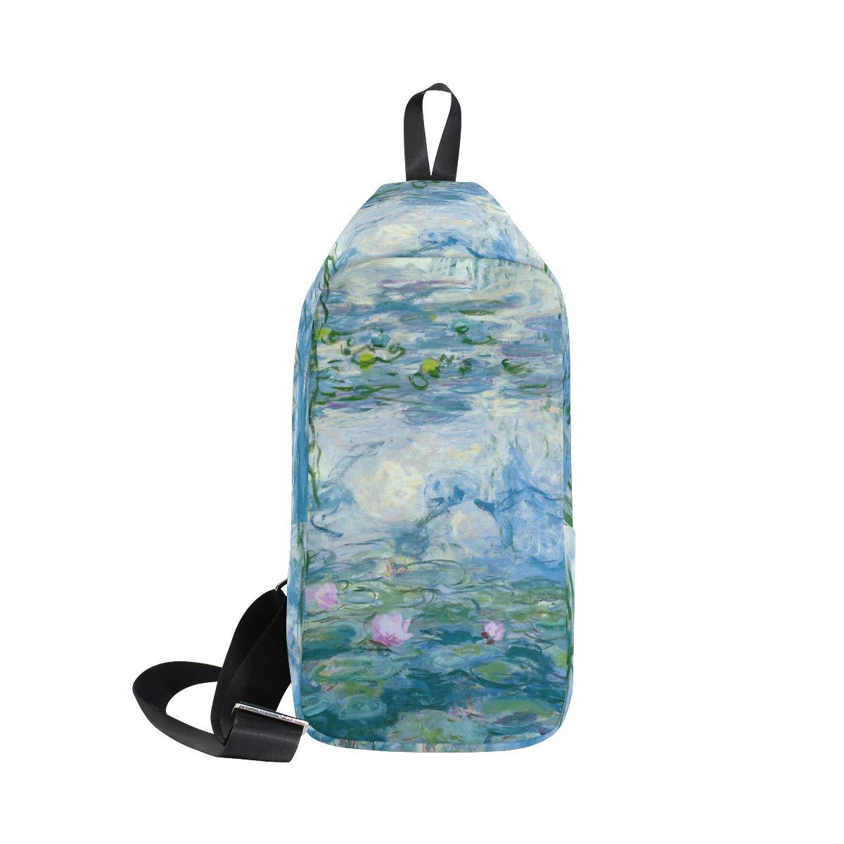 AHOMY Water Lilies By Claude Monet Oil Paintings Flowers Messenger Bag Small Travel School Sling Bag Crossbody Bag