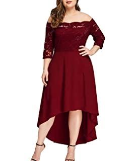 2ca99d7dd450 Beaurex Women's Floral Lace Overlay Top Plus Size Pleated Off Shoulder  Cocktail Party Midi Dresses