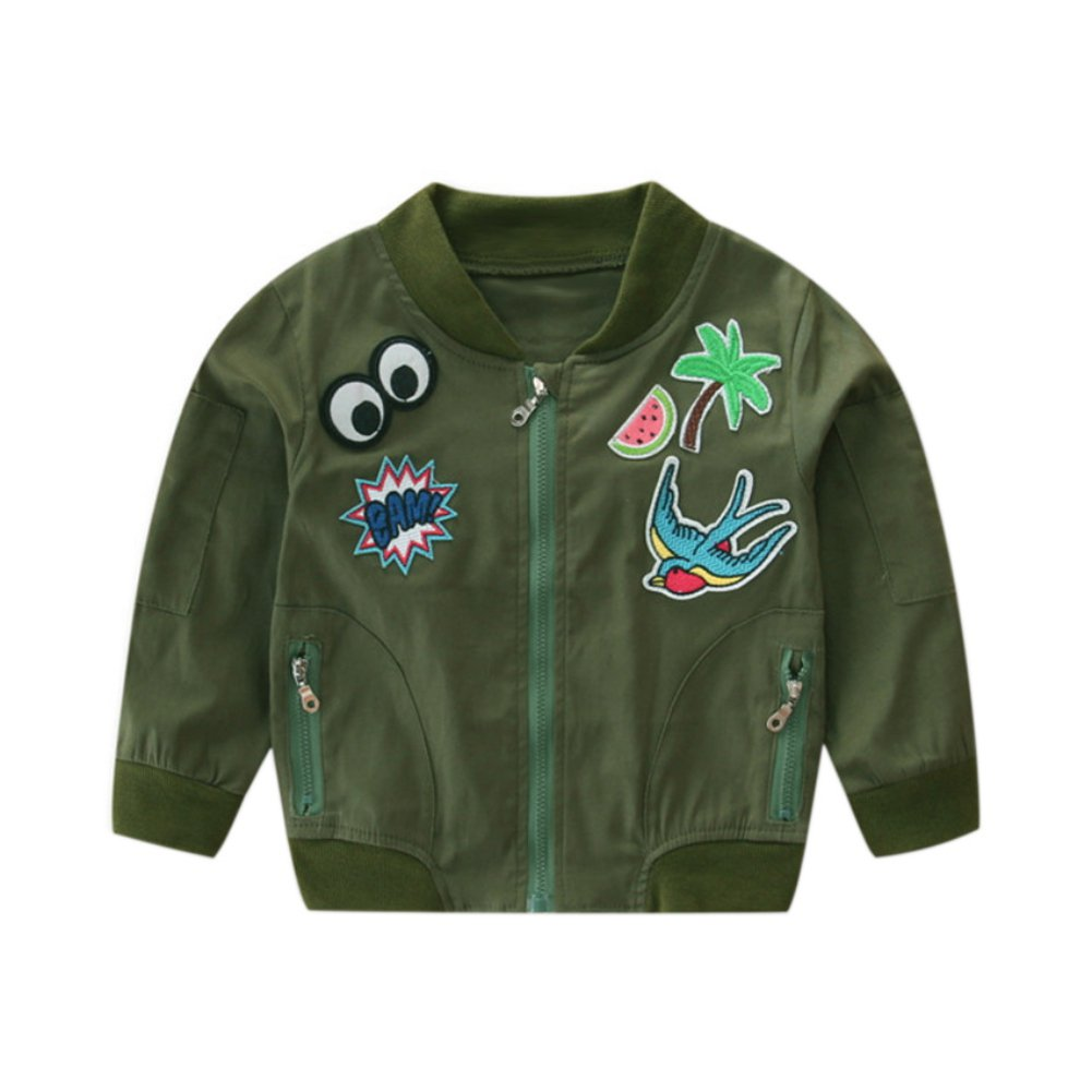 Soly Tech Kids Girls Embroidery Baseball Coats Casual Short Bomber Jackets 1-7T