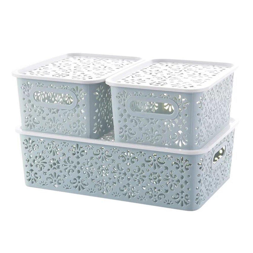 XINGCHENG SPORT Plastic Storage Basket for Household Organization,3 Packs (Blue Basket)