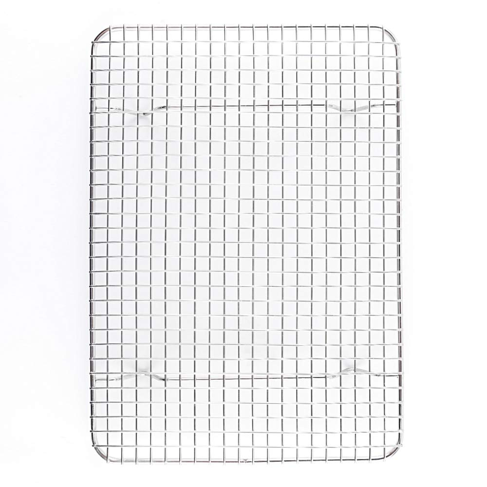 Momugs Stainless Steel Wire Cooling Rack Heavy Duty Cooling and Roasting Rack Fits Jelly Roll Pan Oven-Safe for Roasting,Baking,Cooking, Grilling, Drying - Commercial Grade Chef Quality 8.5'' x 12''