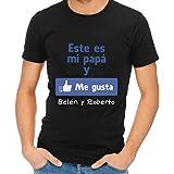 Calledelregalo Regalo para Padres por su cumpleaños, Navidad o el Día del Padre: Camiseta Personalizada Negra 'Me Gusta' con su Nombre y el de Sus Hijos en Varias Tallas