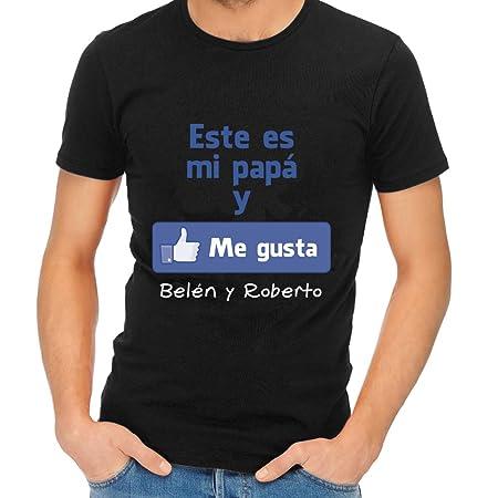 Calledelregalo Regalo para Padres por su cumpleaños, Navidad o el Día del Padre: Camiseta Personalizada Negra Me Gusta con su Nombre y el de Sus ...