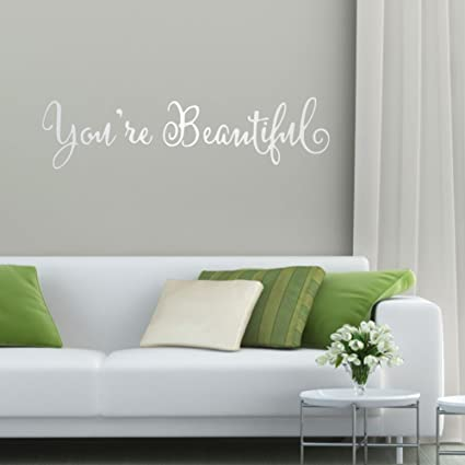 fc1faa91d Amazon.com  VanBest Removable Wall Decals You re Beautiful English ...