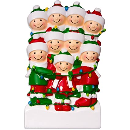 6e7b74a63fa Ornaments by Elves Personalized Tangled in Lights Family of 9 Christmas  Ornament for Tree 2018 -
