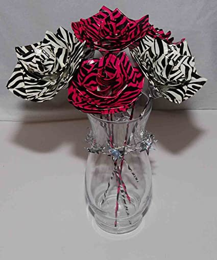 Amazon Flowers For Her Set Of 6 Zebra Print Duct Tape Flowers