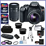 Canon EOS Rebel T6 DSLR Camera with 18-55mm Lens + Canon EF-S 55-250mm f/4-5.6 IS STM Lens + 48GB SDHC Memory Card + Auto Power Flash + 58mm Telephoto & Wide Angle Lenses and more ...