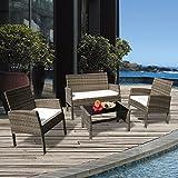 PATIOROMA 4PC Rattan Patio Furniture Set Garden Lawn Sofa Cushioned Seat (Brown Wicker, White Cushions)