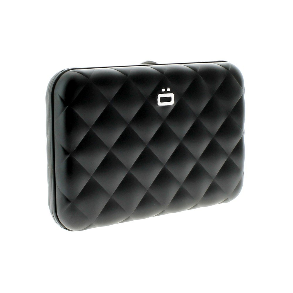 Ogon- Quilted Button Black Card holder metal lock quilted Aluminium QB