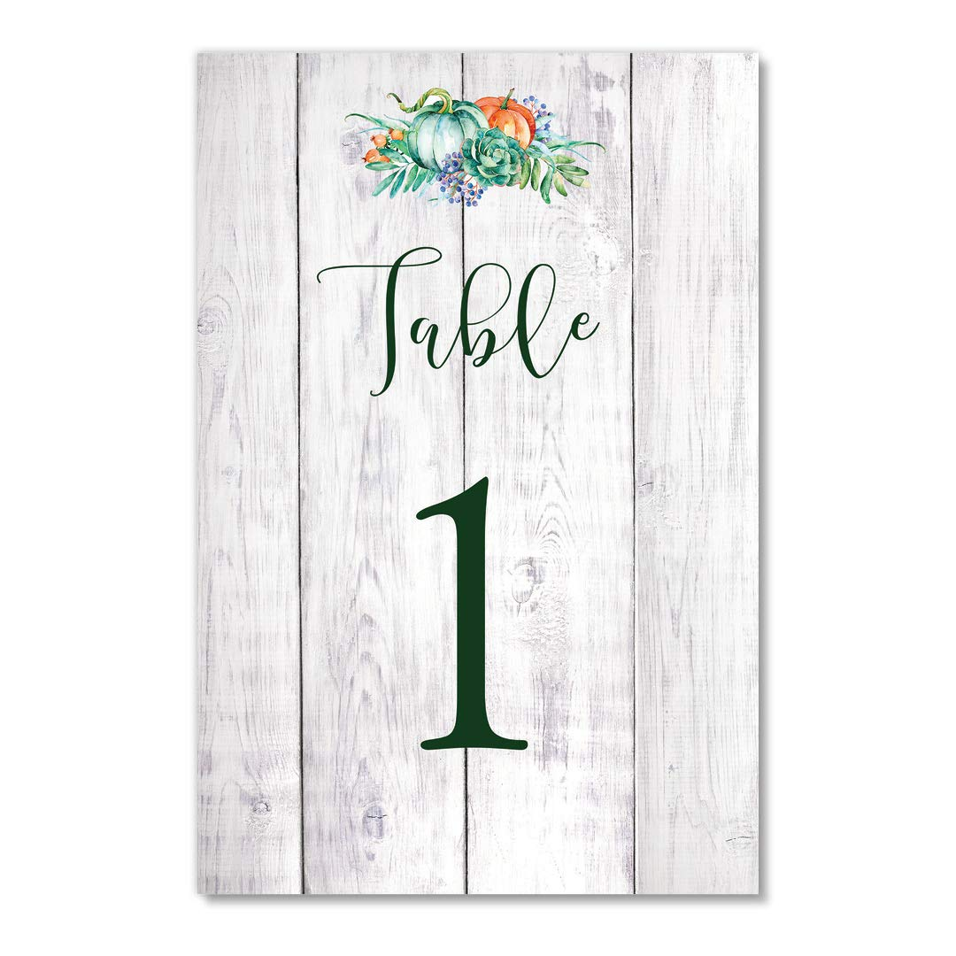 Rustic Farmhouse Table Numbers 25 Pack Autumn Pumpkins Single Sided 4