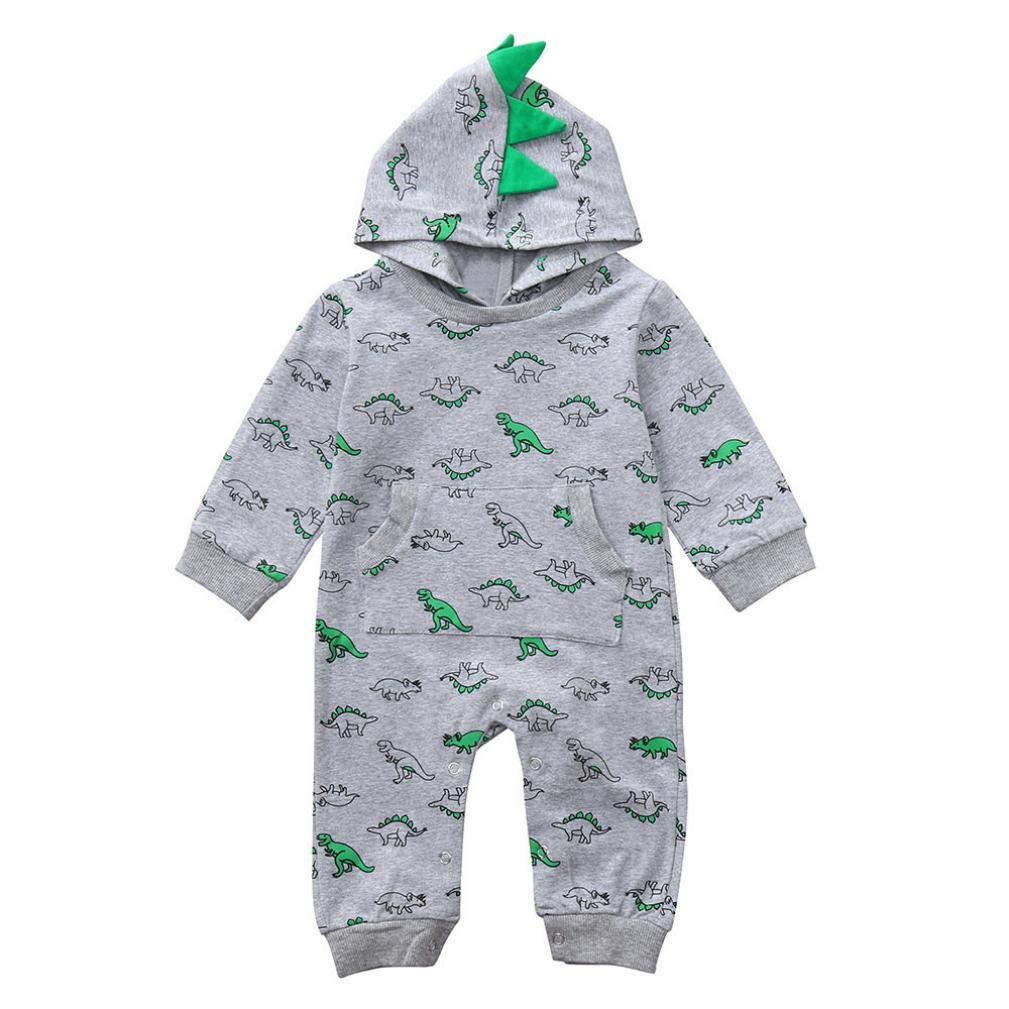 5815acc749 24 Months Newborn Infant Baby Dinosaur Hooded Romper Jumpsuit Cartoon  Sleepwear Pocket Outfits Set  Clothing