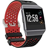 """Bossblue Compatible Fitbit Ionic Bands for Women Men Large Small,Soft Silicone Waterproof Breathable Replacement Accessories Sport Strap for Ionic Smartwatch.(Black/red, Large(6.7""""-8.4""""))"""