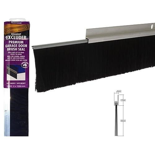 Joint pour bas de porte de garage anti courant d'air - 2,5m (1,25m x 2 pièces en aluminium & brosse)