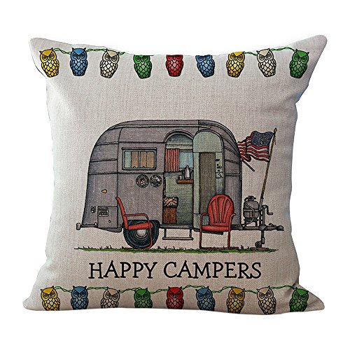 Fulijie Throw Pillow Covers, Happy Campers Car Print Throw Pillow Case Cushion Cover 18 X 18 Inch for Couch Sofa Bed