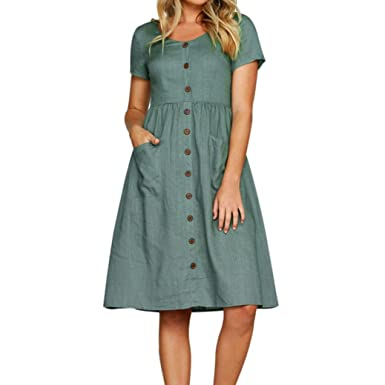 ec901276a9 HARRYSTORE Dress Clearance Womens Holiday Strappy Button Pocket Dresses