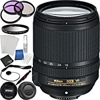Nikon AF-S DX NIKKOR 18-140mm f/3.5-5.6G ED VR Lens Bundle with Manufacturer Accessories and Accessory Kit (19 Items)