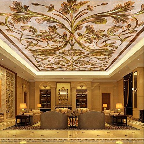(Mznm Custom hotel ceiling 3d wallpaper exquisite European marble Pattern ceiling mural 3d wallpaper 200X140cm)