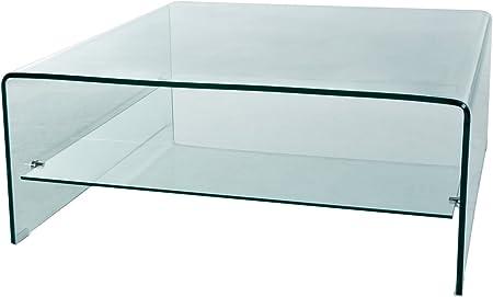 Ludsi Living Table Basse Carree En Verre Trempee 12 Mm 100x100