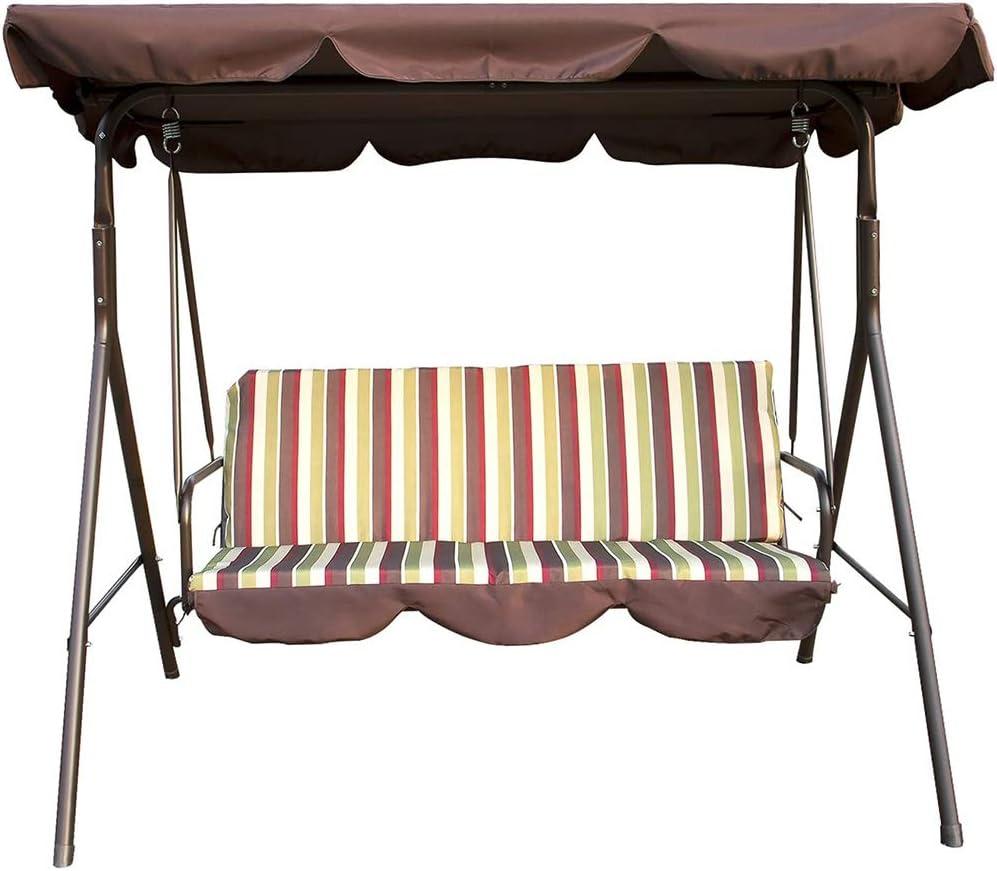 DNNAL - Columpio exterior de porche, cojín para 3 personas, porche con dosel para salón, Backyard muebles, hamaca para patio, Yard jardín en la parte posterior del porche cubierto: Amazon.es: Deportes y
