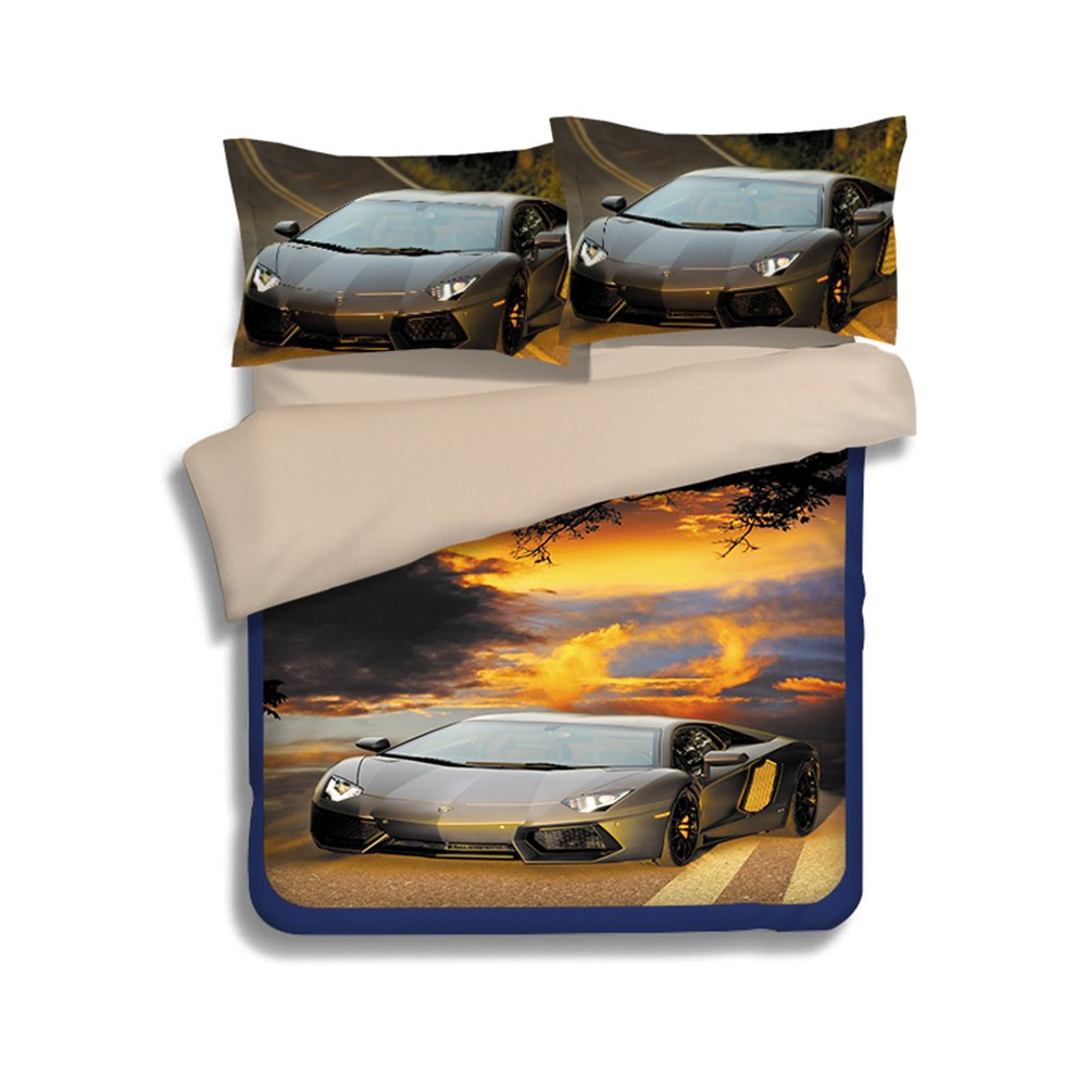 3D Car Bedding Sets 100% Polyester - Sport Do Ultra Soft Cool Design Best Home Decor Fitted Sheet 3PC Twin
