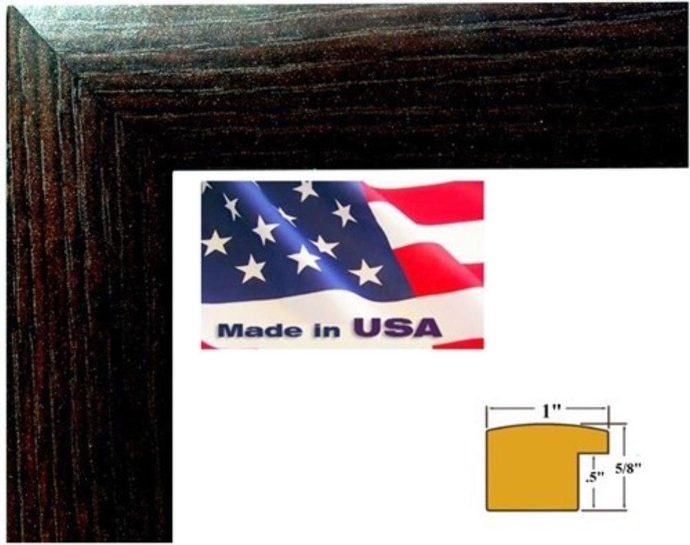 US Art Frames 23x27 Dark Brown 1 Inch Nugget Moulding MDF Wood Composite, Picture Poster Frame