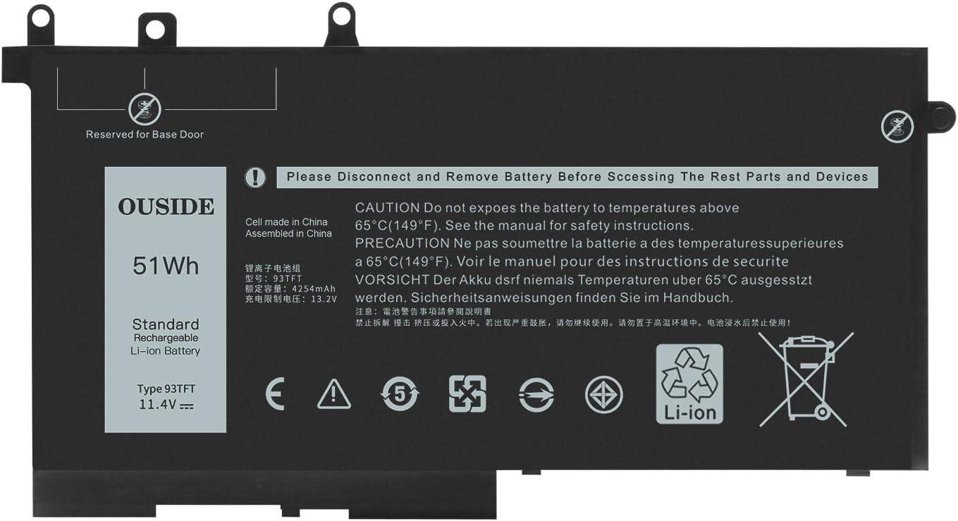 Ouside 93FTF Laptop Battery Compatible with DELL Latitude 15 3520 3530 E5280 E5480 E5580 E5490 E5590 E5480 E5290 Series (51Wh)