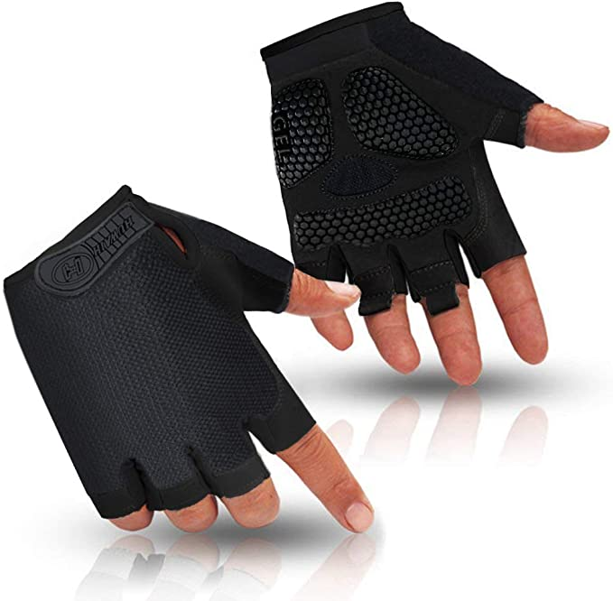 I Kua Fly Cycling Gloves Mountain Bike Gloves with Gel Padded Breathable Reflective Fingerless Cycle Gloves for Men /& Women