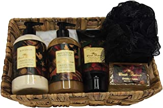 product image for Camille Beckman Essentials Gift Basket, Oriental Spice, Glycerine Hand Therapy 6 oz, Silky Body Cream 13 oz, Hand and Shower Cleansing Gel 13 oz, Glycerine Soap 3.5 oz