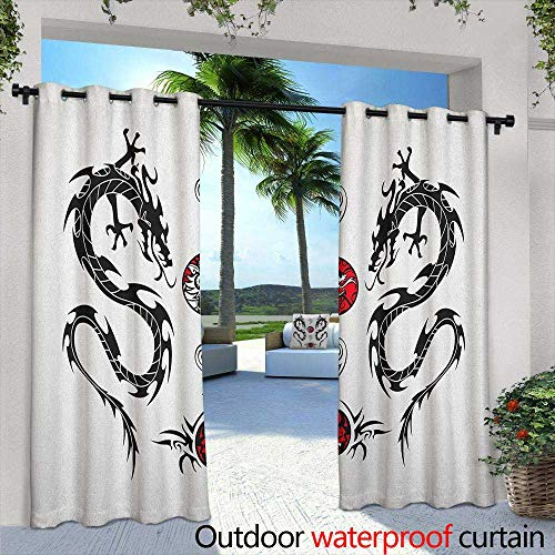 Marilds Japanese Dragon Indoor/Outdoor Curtains Tribal Tattoo Style Asian Indigenous Creatures with Artistic Details Darkening Thermal Insulated Blackout 84