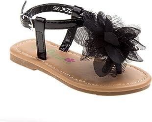 2406c099a646 Petalia Little Girls Black Mesh Flower Accent Thong Strap Sandals 5-10  Toddler