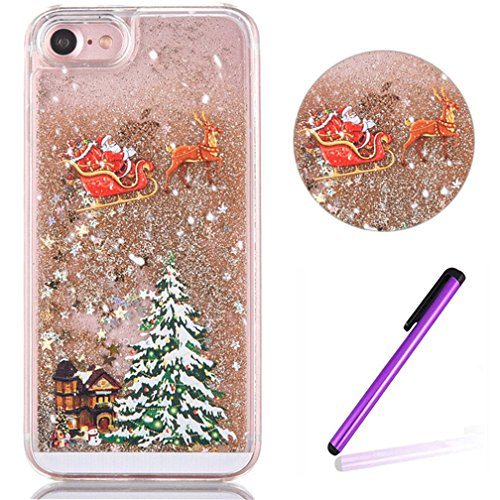 """Price comparison product image iPhone 6 Case EMAXELER 3D Festival Gift Brilliant Luxury Bling Glitter Liquid Floating Moving Hard Protective Case for iPhone 6S 4.7"""" Send 1Pcs Stylus Pen Christmas Tree Golden"""