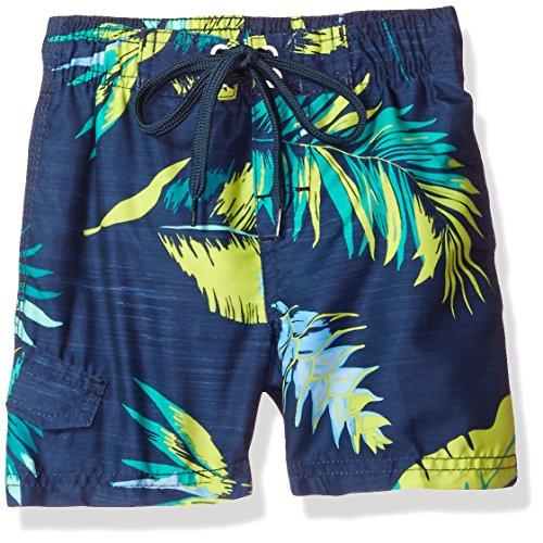 Kanu Surf Little Boys' Toddler Cozumel Floral Swim Trunk, Navy/Green, 4T
