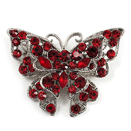Hot Red Crystal Filigree Butterfly Brooch (Silver Tone) (Silver Filigree Butterfly Pin)