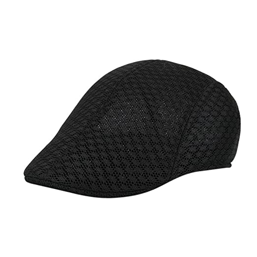 c8f663ace9b Besooly Newsboy Hats Men Breathable Mesh Casual Beret Caps Classic Solid  Color Sun Cap (Black