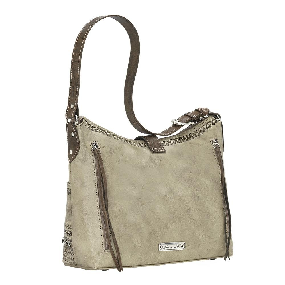 American West Women's Trading Post Large Zip Top Shoulder Bag Sand One Size by American West (Image #4)
