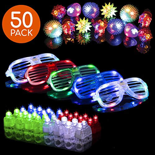 LED Glow Party Favors for Kids 50pc Light Up Glow in The Dark Party Supplies, 32 Finger Lights, 13 Glow Rings, 5 LED Glasses, Bulk Halloween Prizes