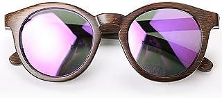 Junjiagao Gafas de Sol de Madera Polarizadas, Hechas a Mano, de bambú, Redondas, con protección Ultravioleta y con Gafas de Sol de Playa. de bambú con protección Ultravioleta y con Gafas de Sol de Playa.