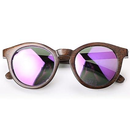 Adult Eyewear Gafas de sol polarizadas de madera de las mujeres Gafas de sol redondas de