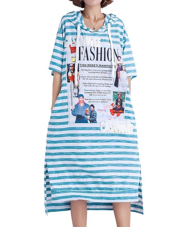 Ellazhu Women's Summer Blue Strips Sweatshirt Hoodie Dress Ga1398 A by Ellazhu