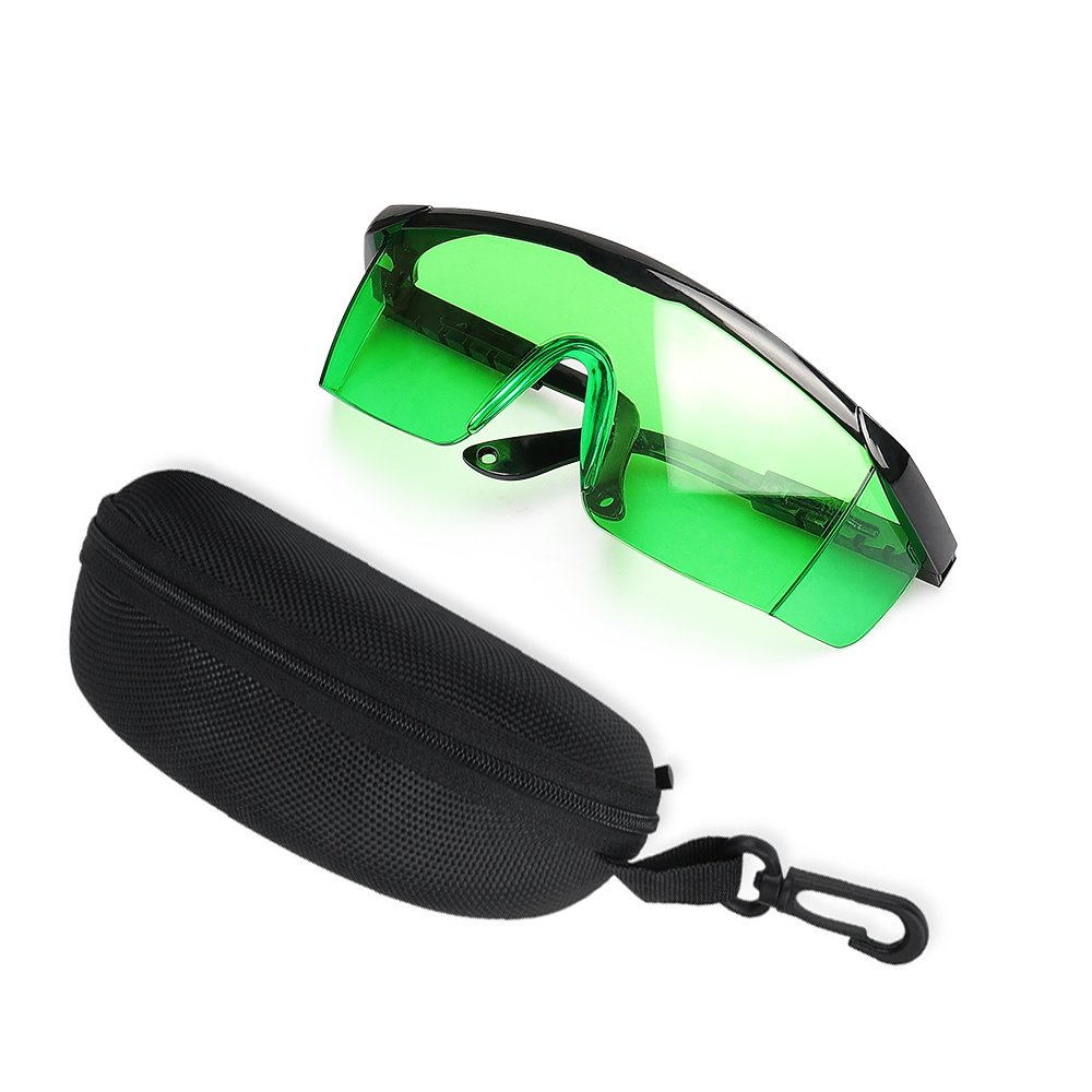 Green Laser Enhancement Glasses - Huepar GL01G Adjustable Eye Protection Safety Glasses for Green Alignment, Cross & Multi Line and Rotary Lasers with Anti Lost Function and Free Hard Protective Case