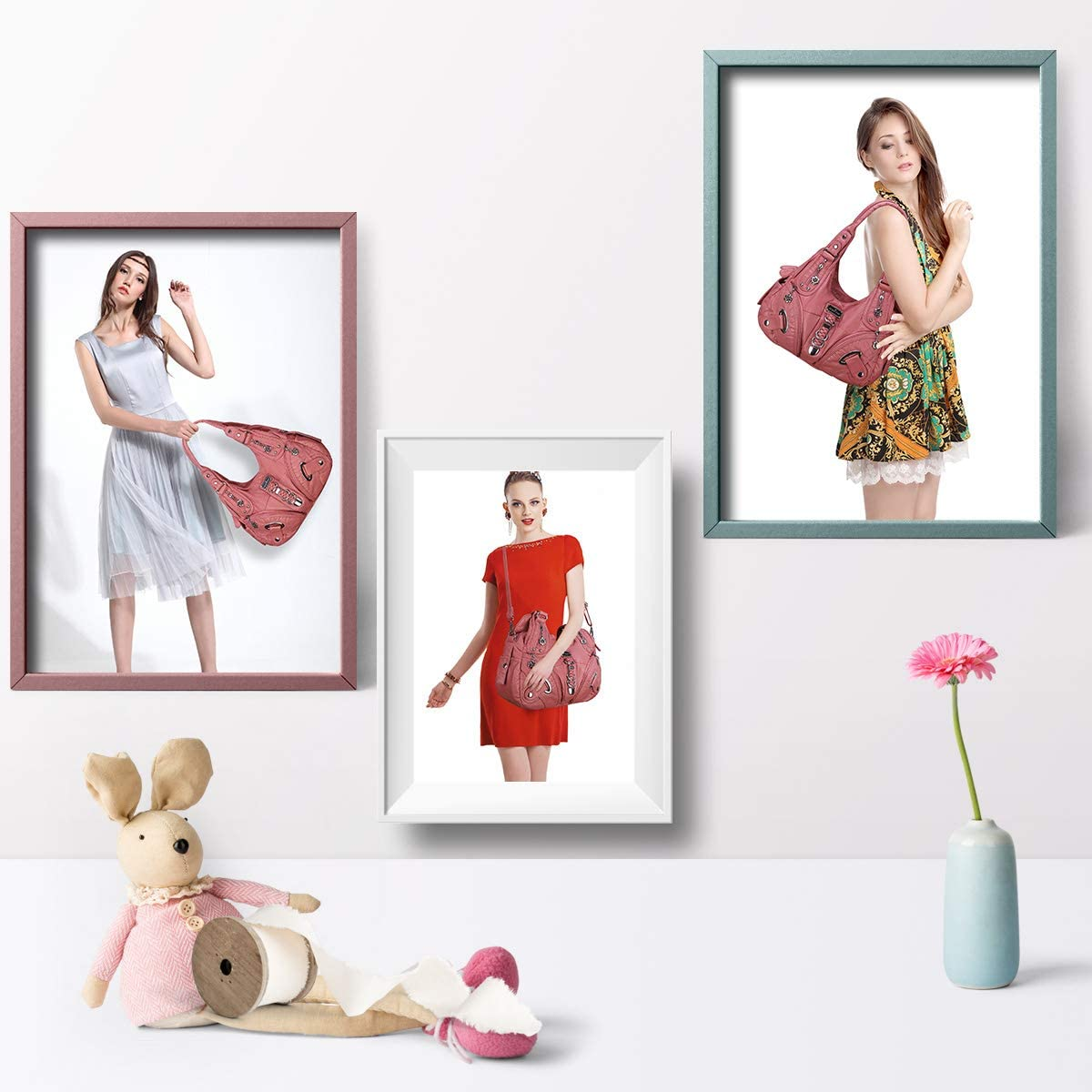 Angel Barcelo Sac à main pour femme Sac à bandoulière en cuir PU Poignée supérieure Cartable Sac fourre-tout 11282#6031#152#pink.