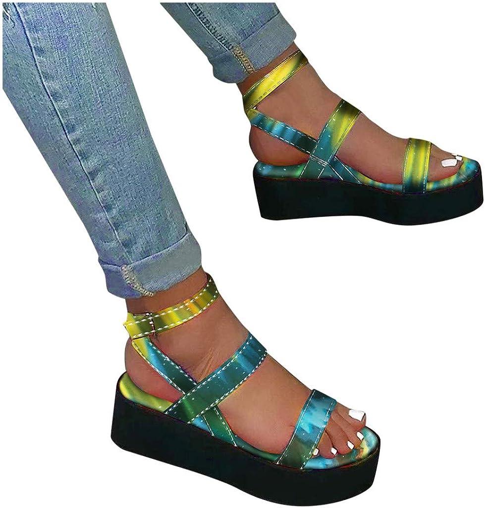 MITCOWBOYS Rainbow Sandals Women's Open Toe Ankle Strap Platform Flat Sandals Ladies Summer Casual Daily Shoe
